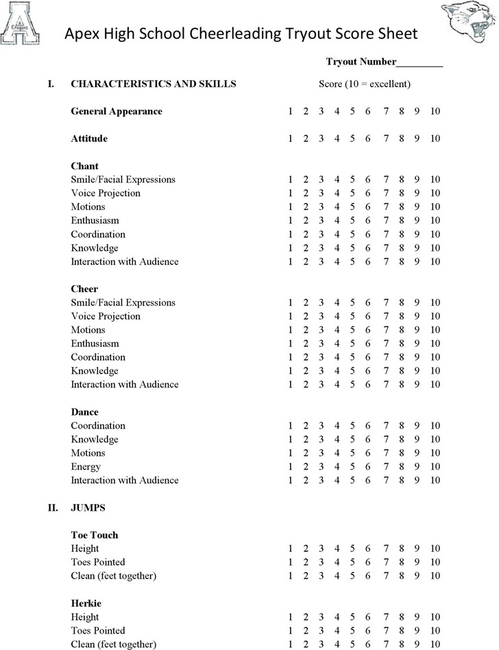 Cheerleading Tryout Score Sheet – Sample Scrabble Score Sheet