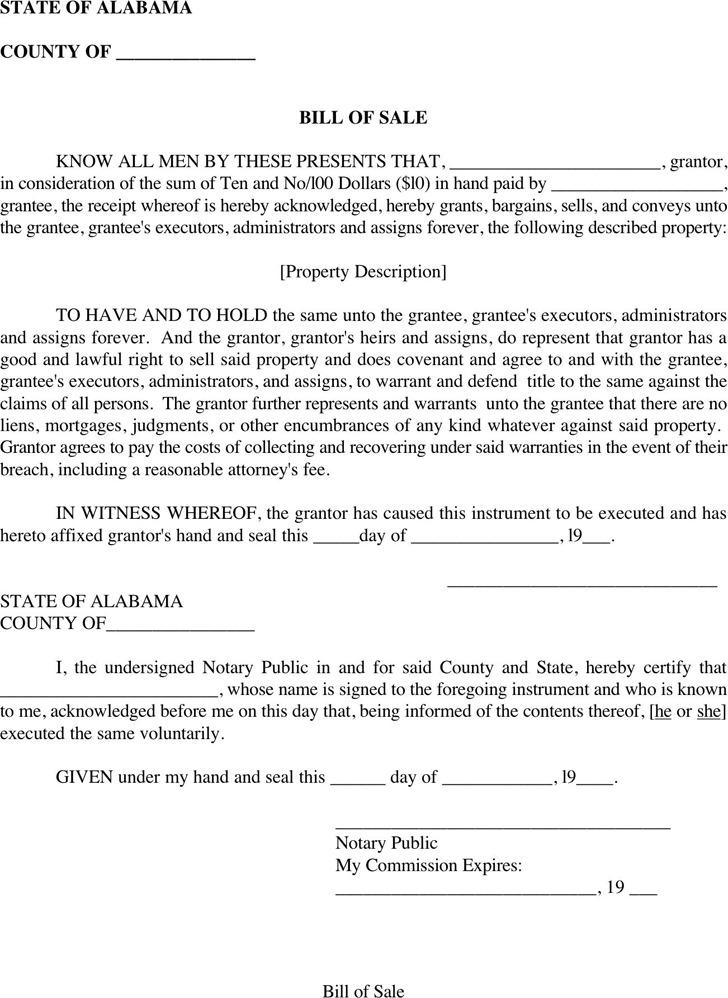 Alabama Bill of Sale Form