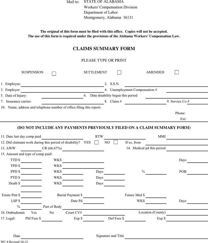 Alabama Claims Summary Form