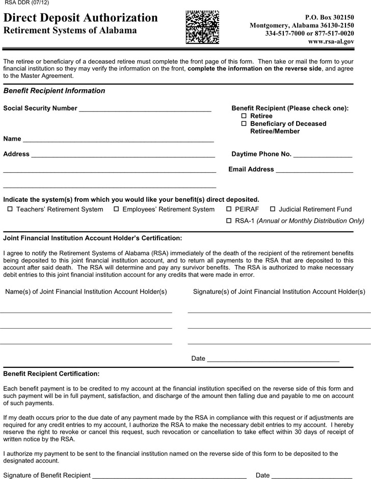 Alabama Direct Deposit Form 1