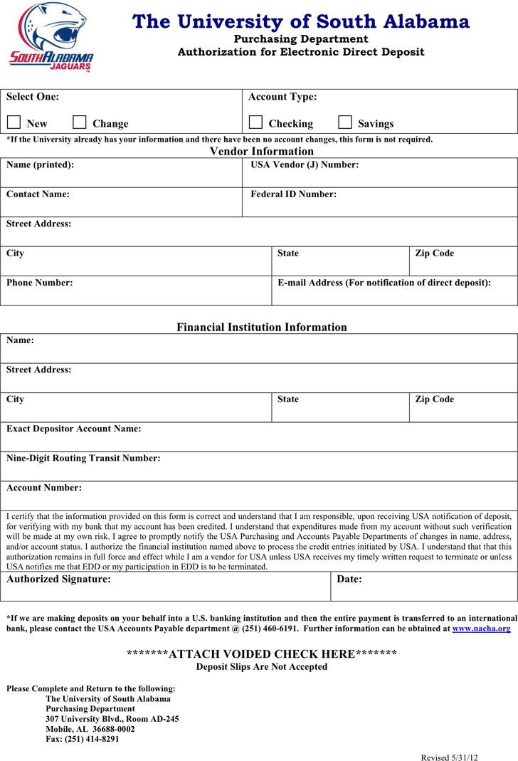 Alabama Direct Deposit Form 2