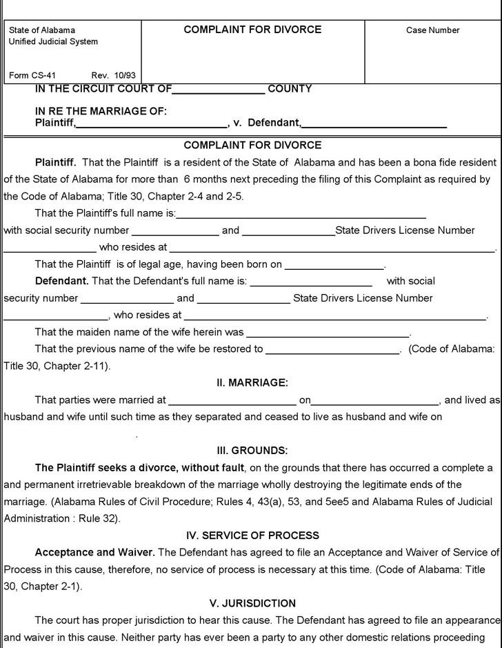 Alabama Divorce Complaint 2