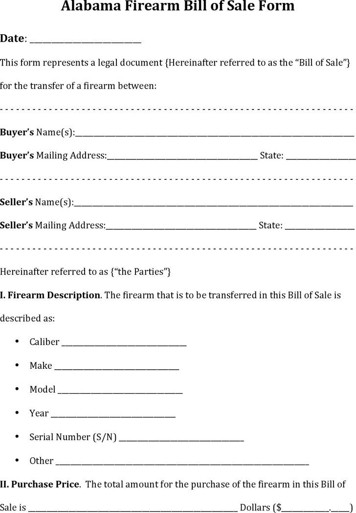 Alabama Firearm Bill of Sale