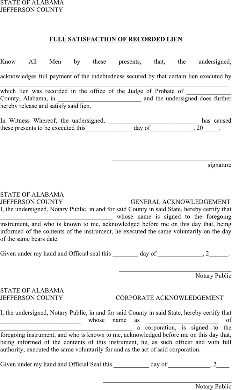 Alabama Full Release of Lien