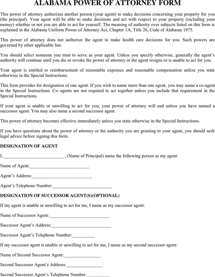 Alabama General Power of Attorney Form