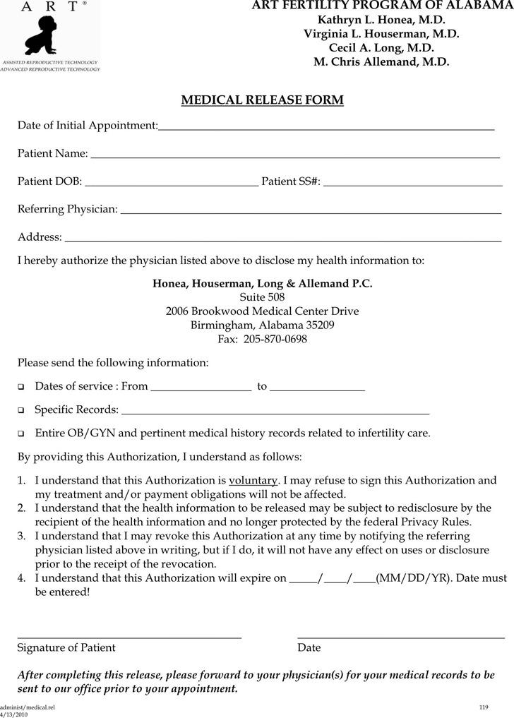 Alabama Medical Release Form 1