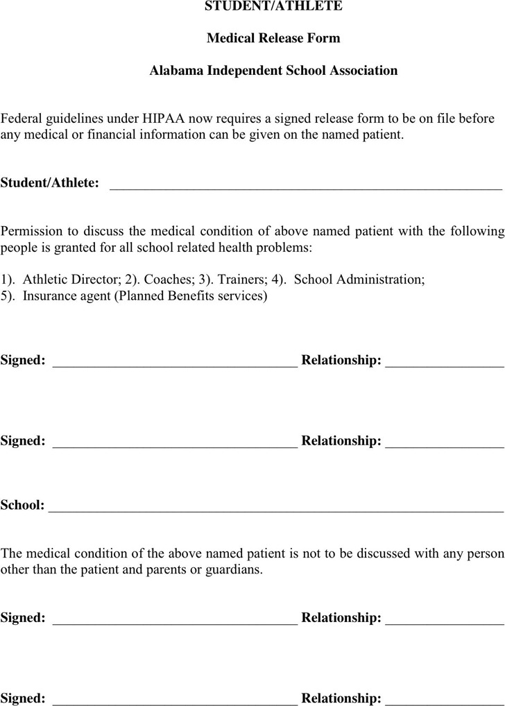 Alabama Medical Release Form 2