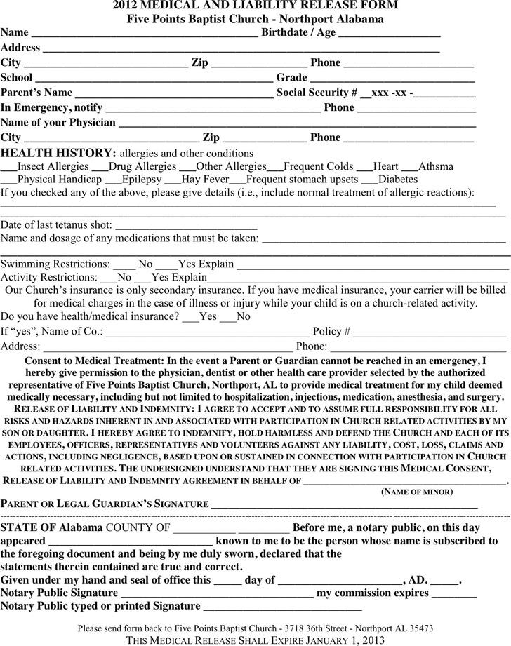 Alabama Medical Release Form 2012