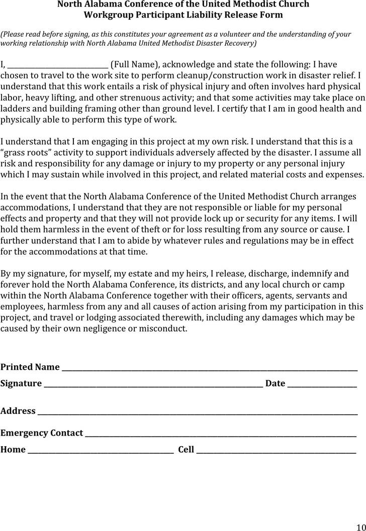 Alabama Participant Liability Release Form