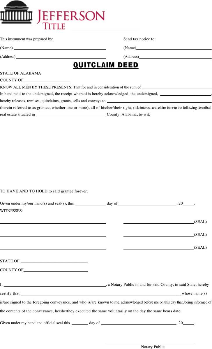 Alabama Quitclaim Deed Form 1