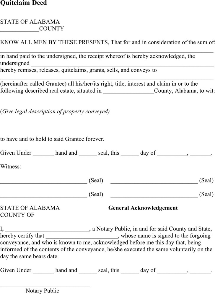 Alabama Quitclaim Deed Form | Download Free & Premium Templates ...