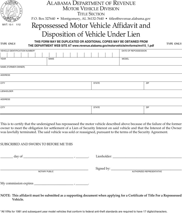 Alabama Repossessed Vehicle Affidavit And Disposition of Vehicle Under Lien