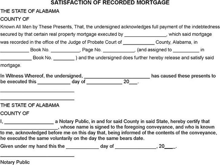 Alabama Satisfaction Of Mortgage Form | Download Free & Premium