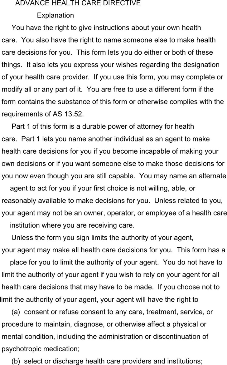 Alaska Advance Health Care Directive Form 2