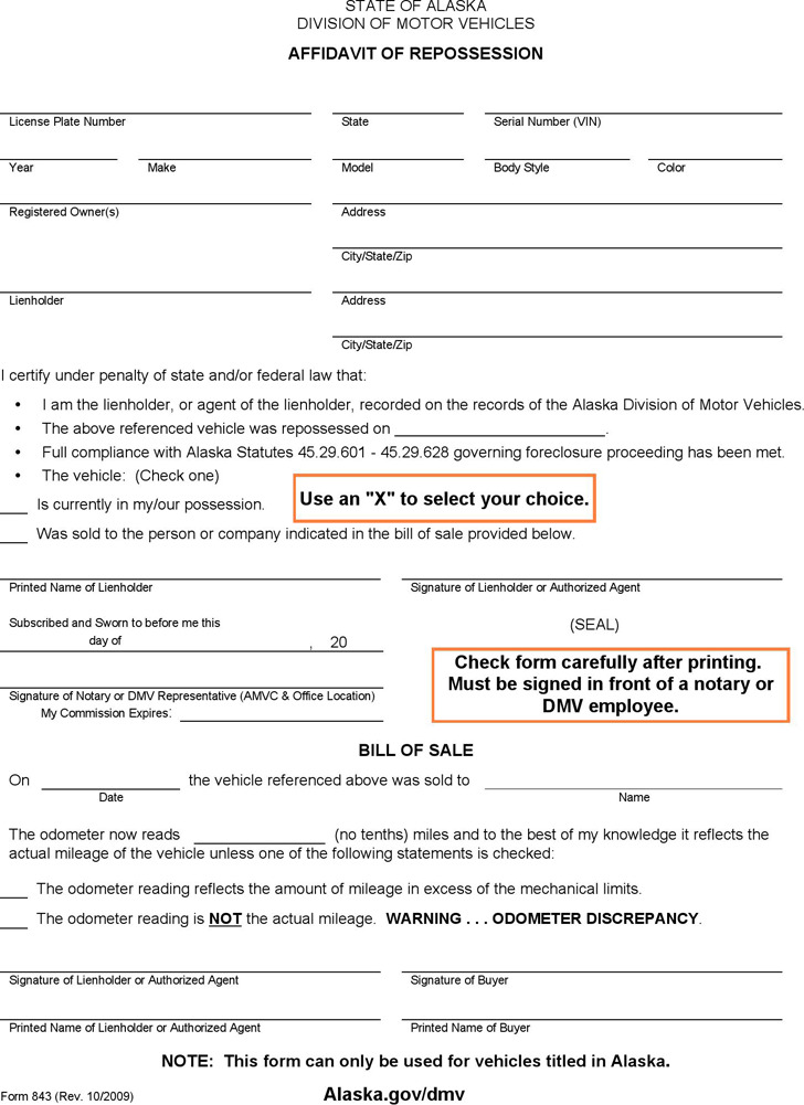 Alaska Affidavit of Repossession Form