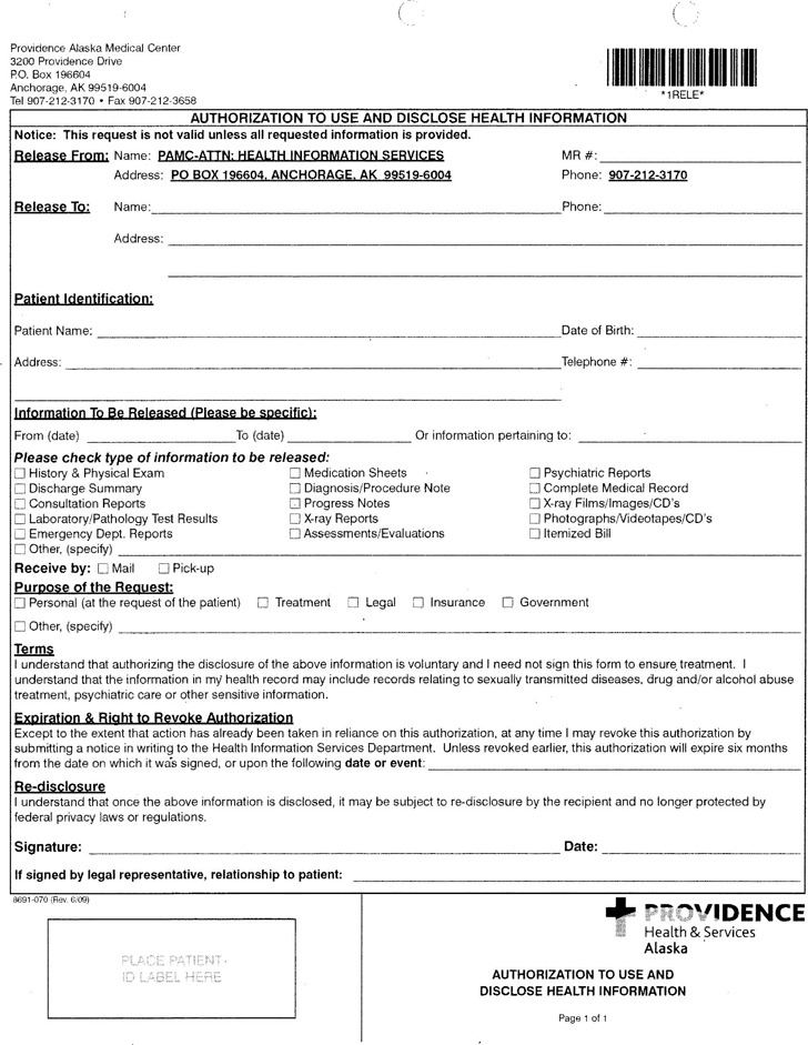 Alaska Authorization to Use and Disclose Health Information Form
