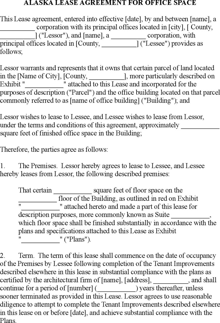 Alaska Commercial Lease Agreement for Office Space Form