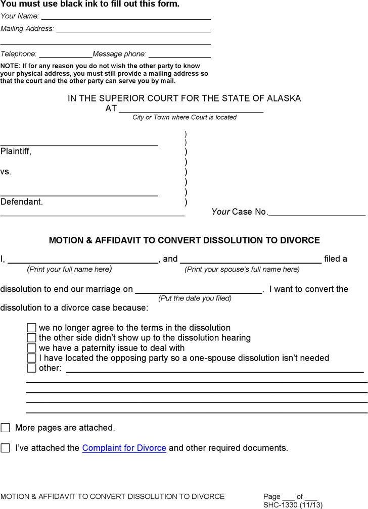 Alaska Motion & Affidavit to Convert Dissolution to Divorce