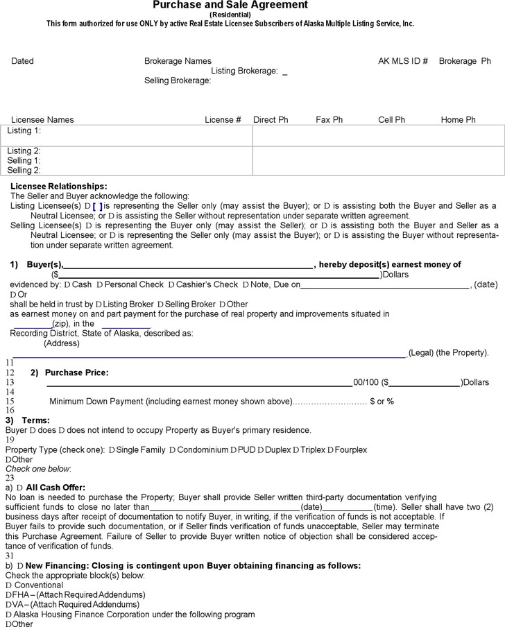 Alaska Purchase and Sale Agreement Form