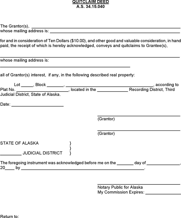 Alaska Quitclaim Deed Form