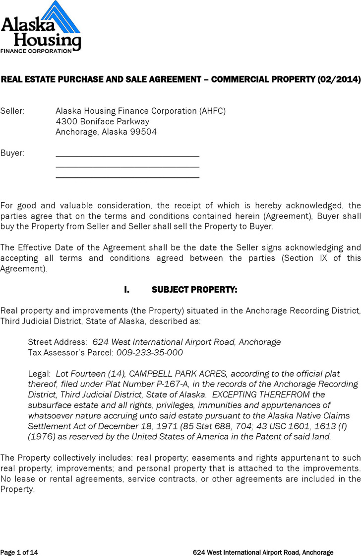 Alaska Real Estate Purchase and Sale Agreement Form