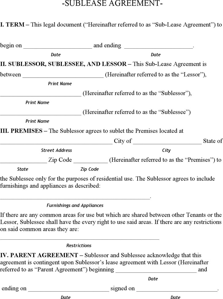 Alaska Sublease Agreement Form
