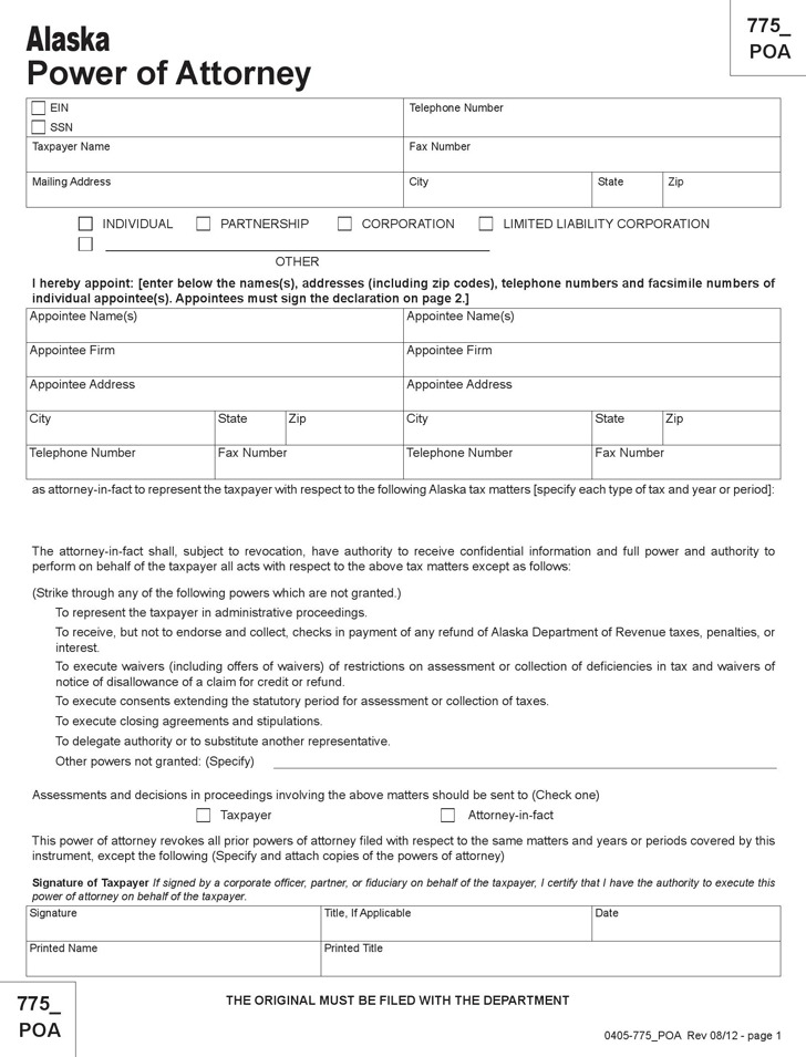 Alaska Tax Power of Attorney Form