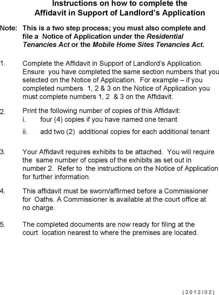 Alberta Affidavit in Support of Landlord's Application (All locations) Form