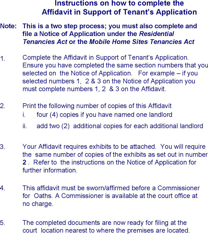 Alberta Affidavit in Support of Tenant's Application (All locations) Form