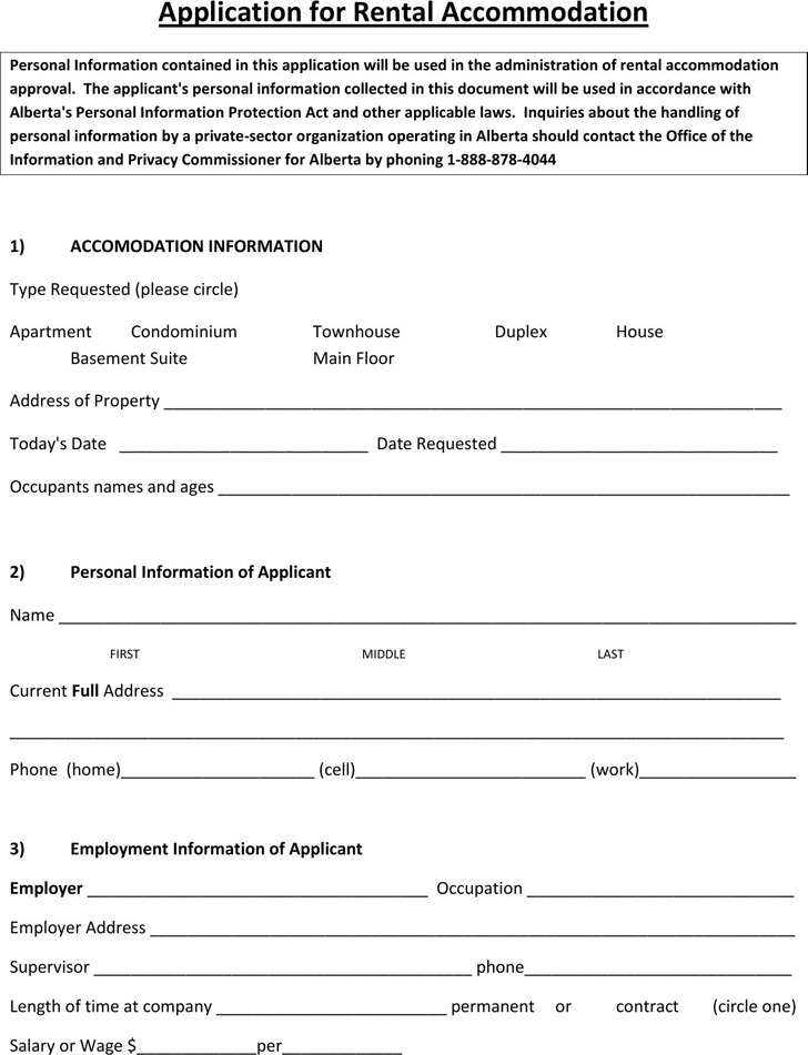 Alberta Application for Rental Accommodation Form