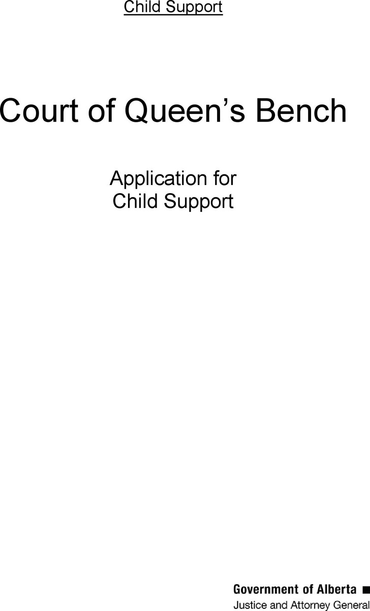 Alberta Application kit to Apply for Child Support Form
