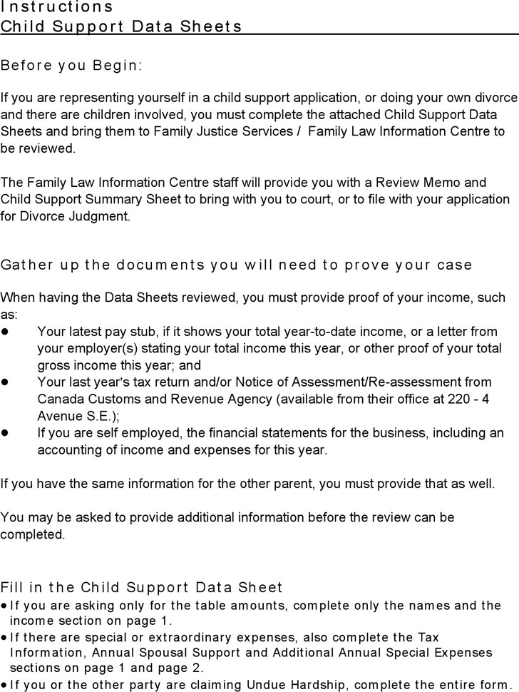 Alberta Child Support Data Sheet