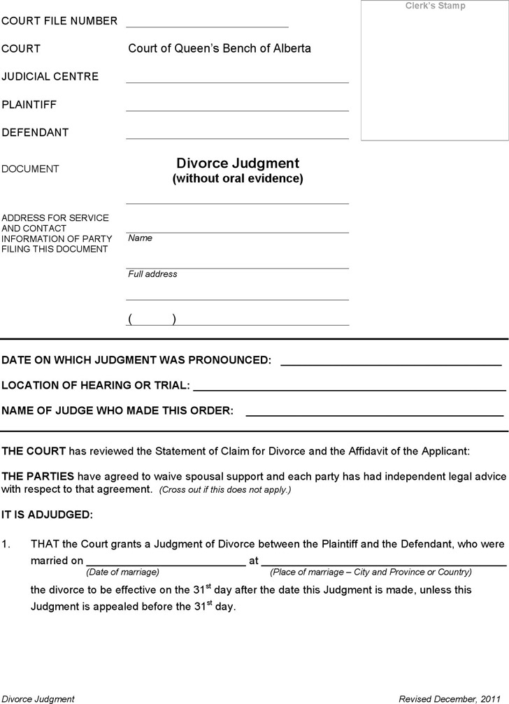 Alberta Divorce Judgment and Affidavit of Execution (without Children) Form