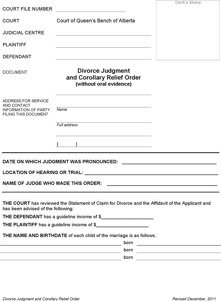 Alberta Divorce Judgment and Corollary Relief Order Form