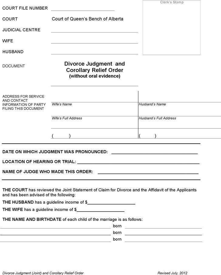 Alberta Joint Divorce Judgment and Corollary Relief Order Form