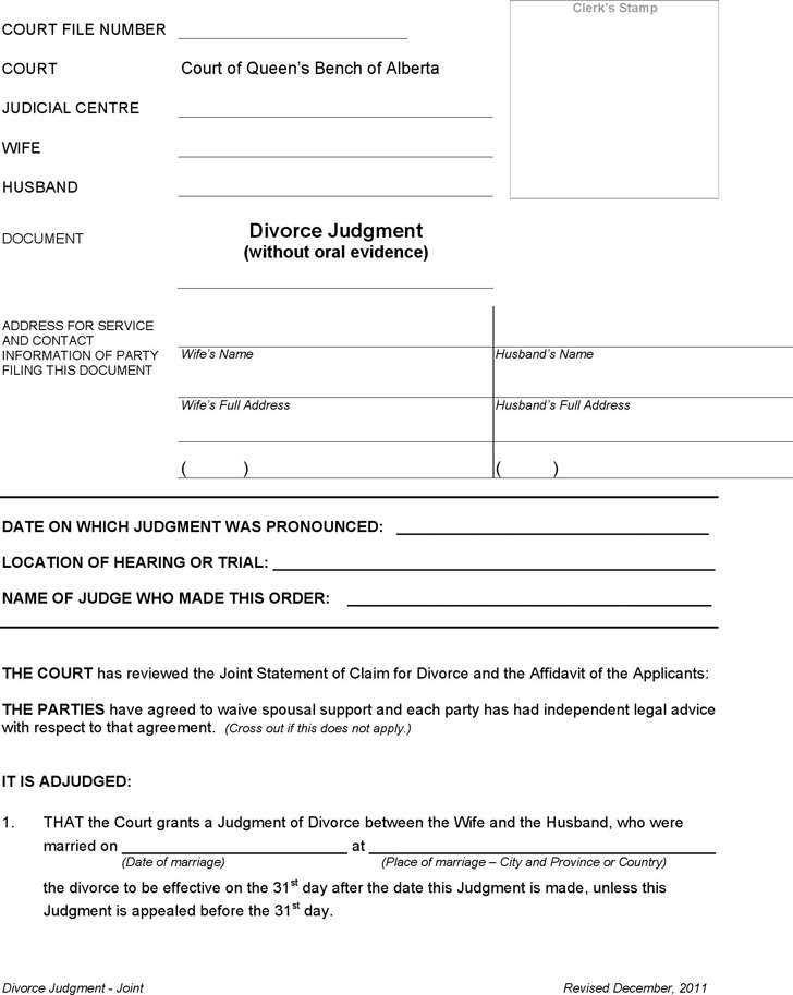 Alberta Joint Divorce Judgment Form