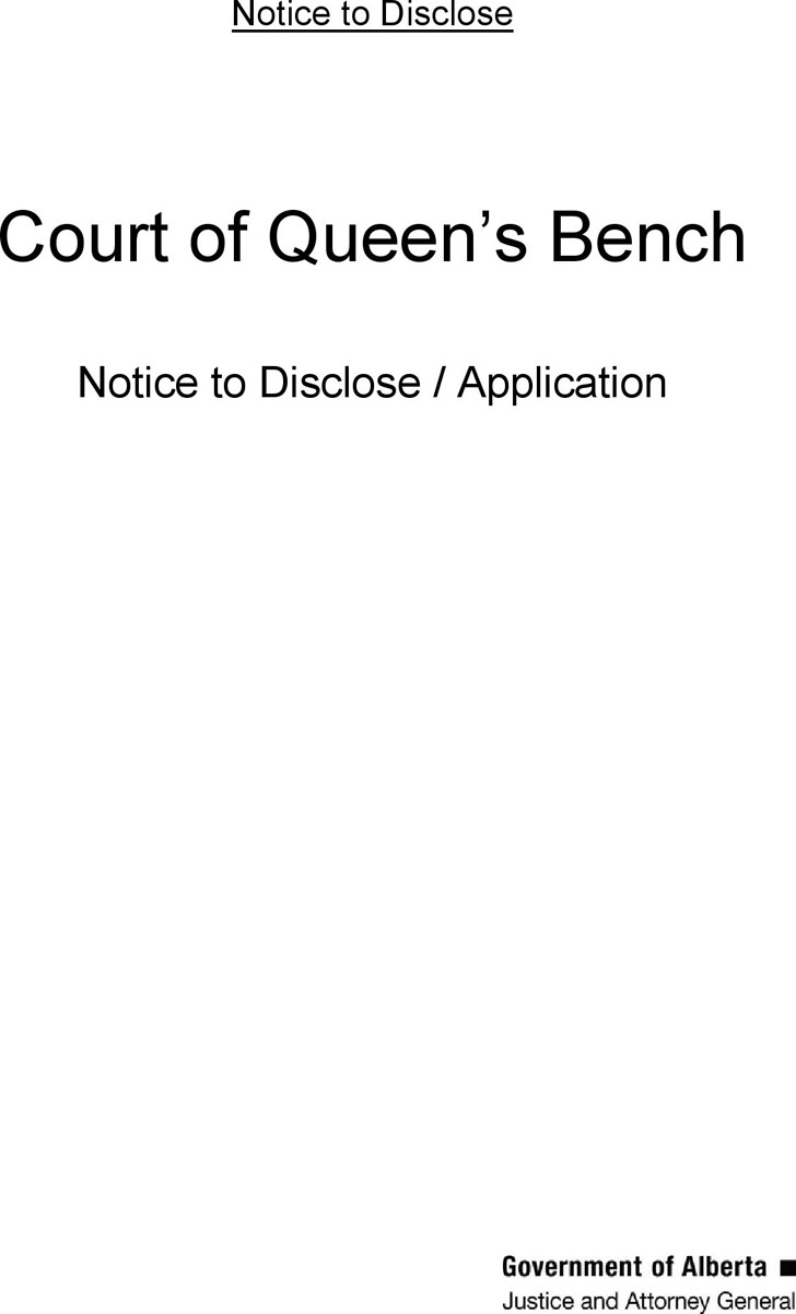 Alberta Notice to Disclose/Application Form