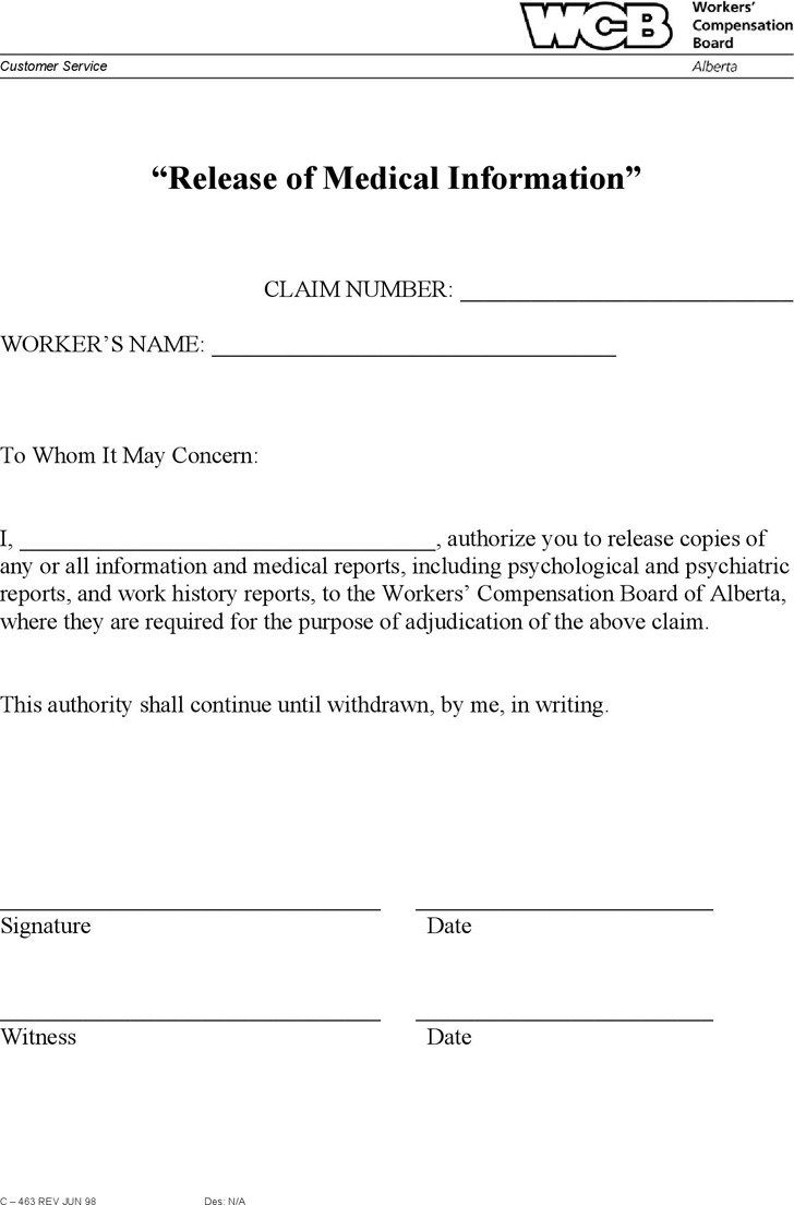 Alberta Release of Medical Information Form
