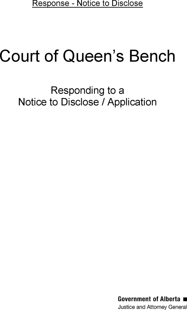 Alberta Response to Notice to Disclose/Application Form