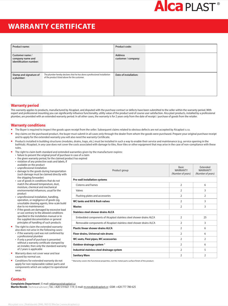 Warranty certificate templates download free premium templates alca plast warranty certificate yelopaper Choice Image