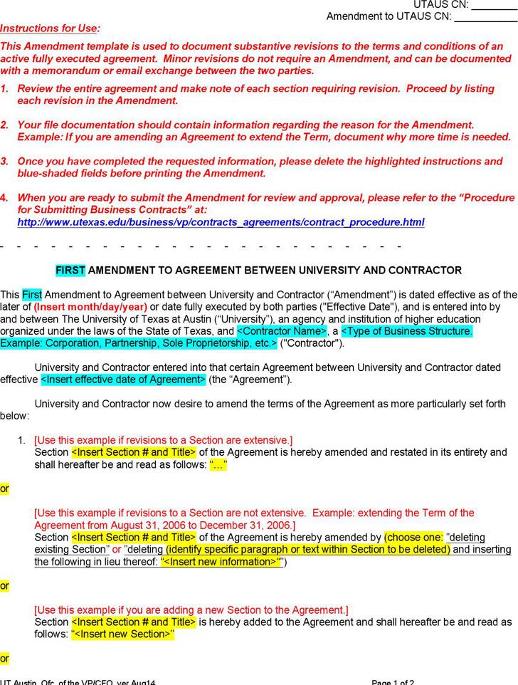 Contract Amendment Template – Contract Amendment Template