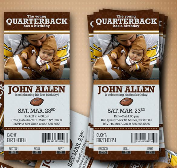 American Football Style Ticket for Birthday