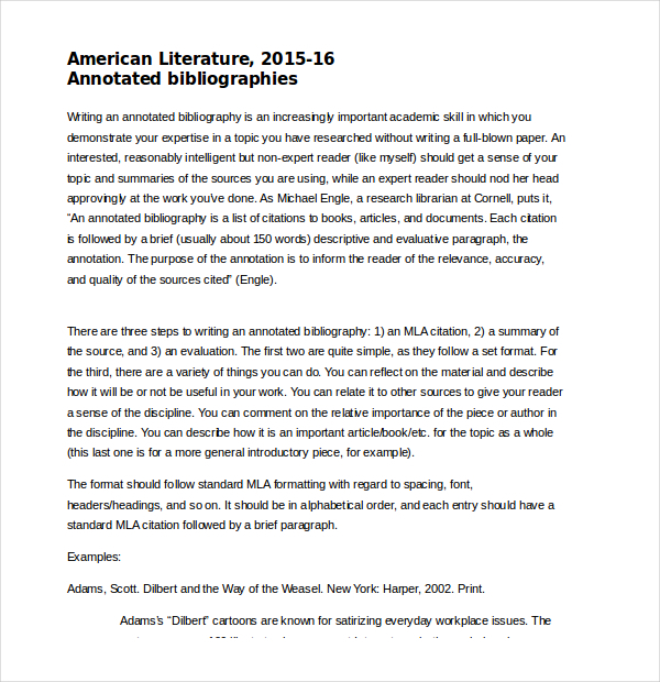 American Literature Annotated Bibliography Word Document