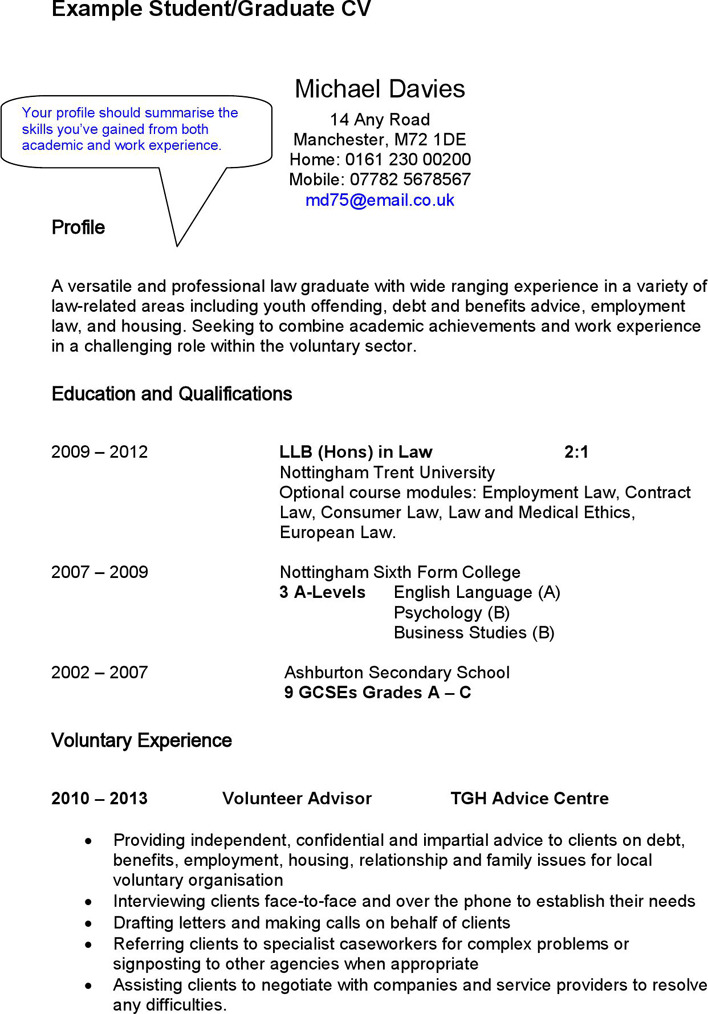 Cv example university student – Student Resume Example