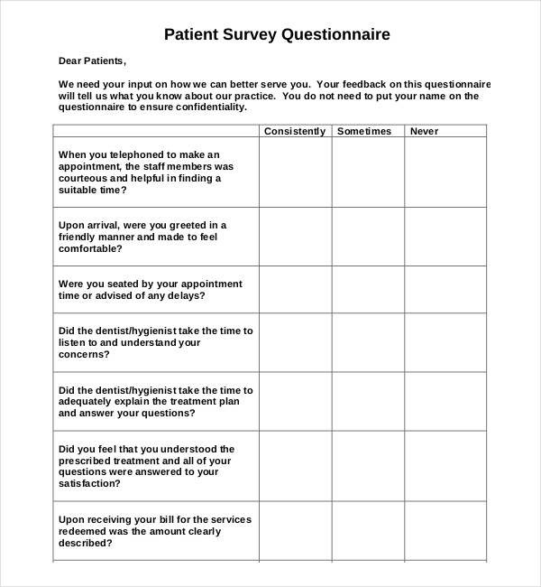 Patient Survey Template Surveys Customer Staff Employee