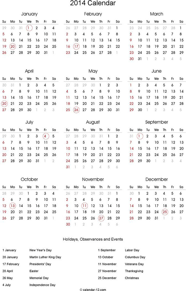 Annual Calendar 2014
