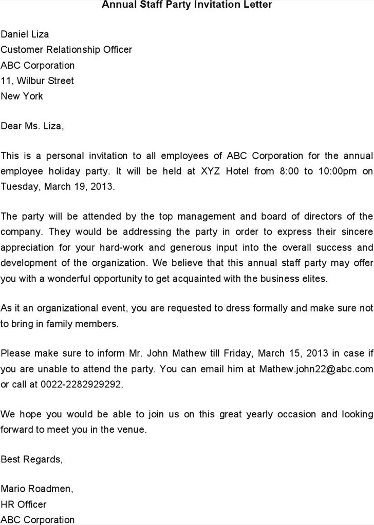 Annual Staff Party Invitation Letter Template