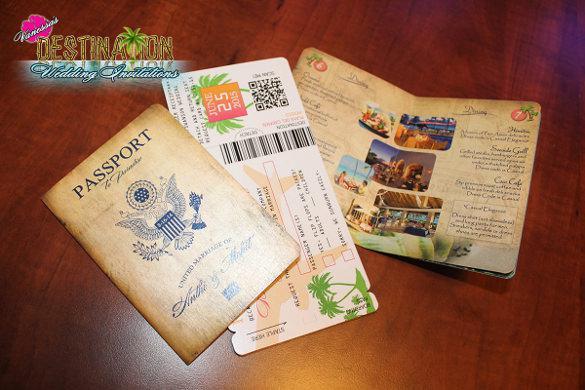 Antique Generic Wedding Boarding Pass Invitation Template