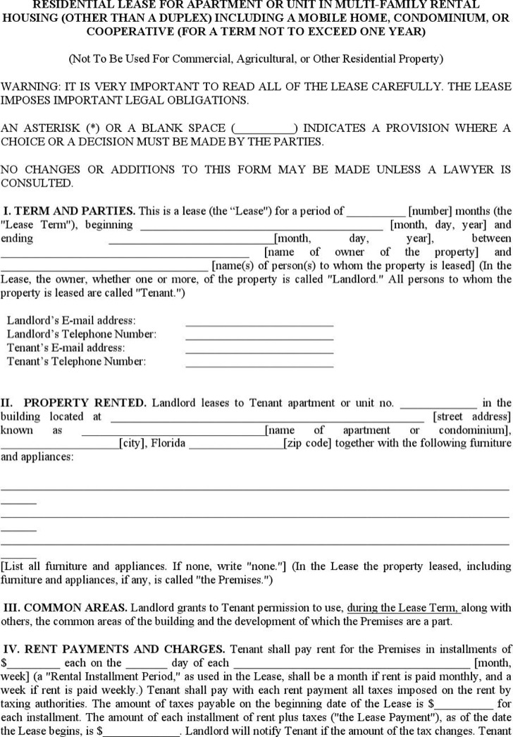 Apartment Lease Templates  Download Free  Premium Templates