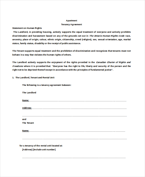 Apartment Rental Agreement Templates | Download Free & Premium